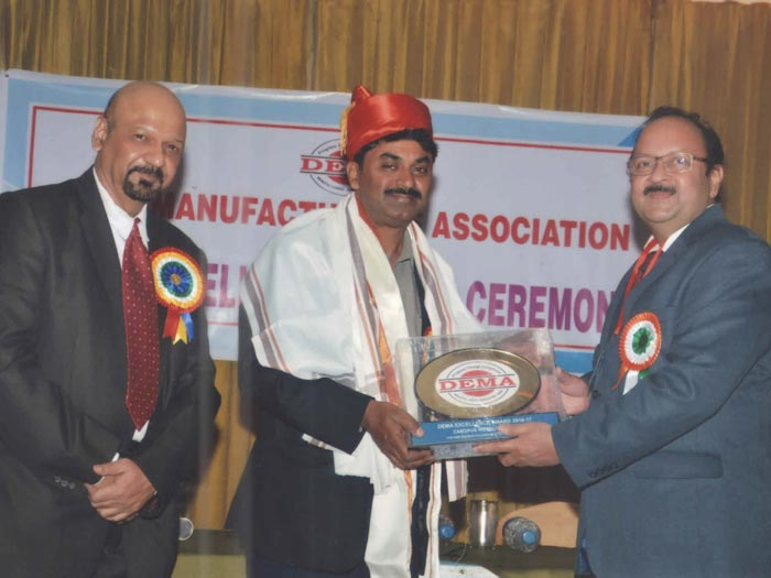 DEMA Excellence Award received by our CEO, Mr. Abhijit Kulkarni at the hands of Dr. Satish Reddy, Scientific Advisor to the Hon. Raksha Mantri of Republic of India.
